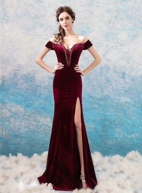 In Stock:Ship in 48 hours Mermaid Velvet Off The Shoulder Prom Dress
