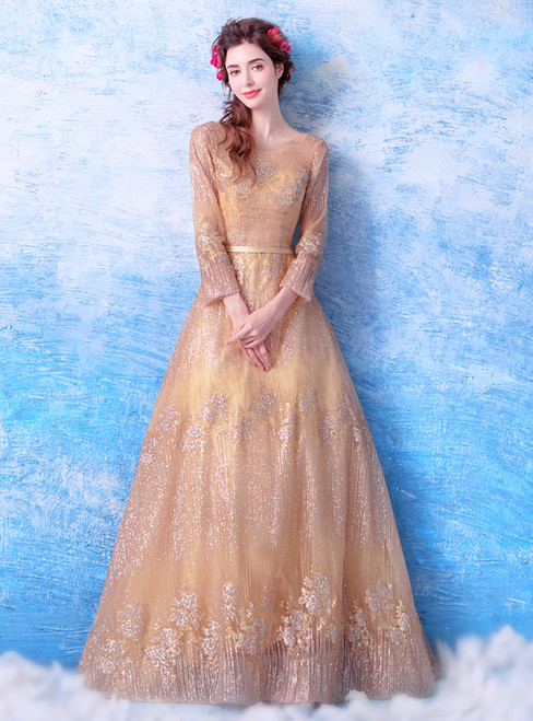 In Stock:Ship in 48 hours Gold Long Sleeve Backless Prom Dress