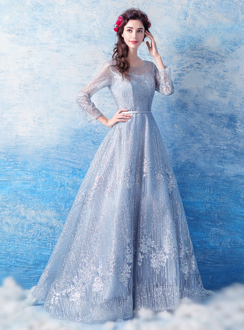 In Stock:Ship in 48 hours Gray Long Sleeve Sequins Prom Dress