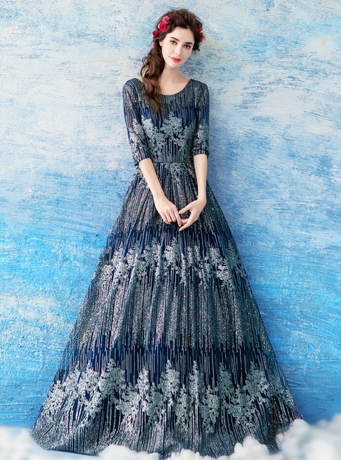 In Stock:Ship in 48 hours Blue Half Sleeve Sequins Prom Dress