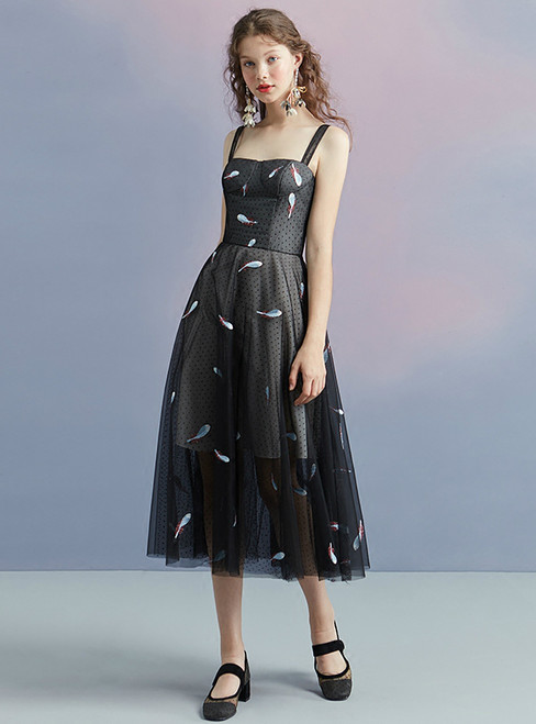 In Stock:Ship in 48 hours Black Spaghetti Straps Tulle Homecoming Dress