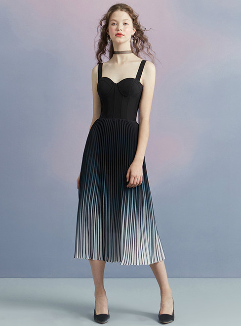 In Stock:Ship in 48 hours Black Spaghetti Straps Pleats Homecoming Dress