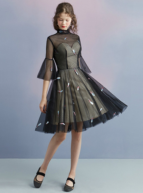 In Stock:Ship in 48 hours Black Tulle High Neck Short Sleeve Homecoming Dress