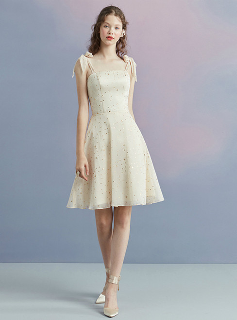 In Stock:Ship in 48 hours Yellow Spaghetti Straps Champagne Homecoming Dress