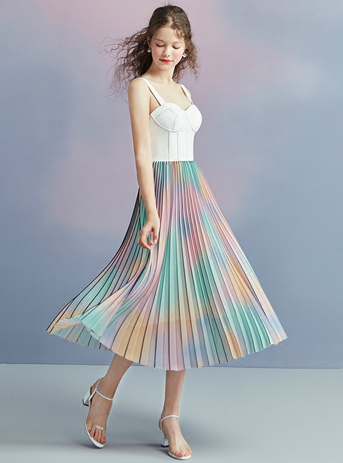 In Stock:Ship in 48 hours Spaghetti Straps Tea Length Homecoming Dress