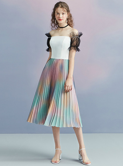 In Stock:Ship in 48 hours Off The Shoulder Tea Length Homecoming Dress
