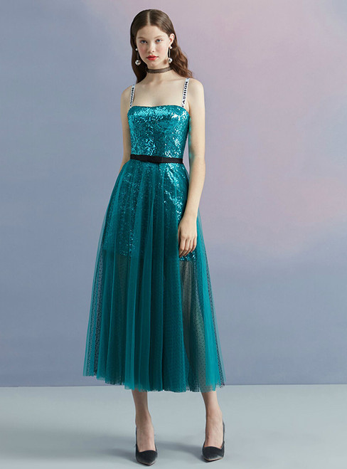 In Stock:Ship in 48 hours Blue Spaghetti Straps Sequins Homecoming Dress