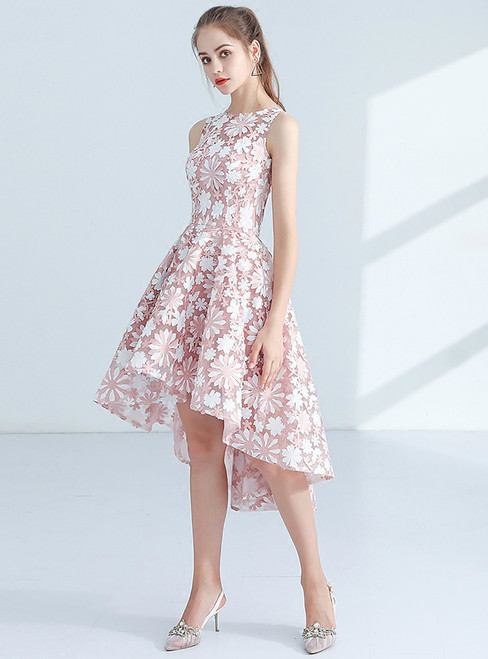 In Stock:Ship in 48 hours Pink Lace Hi Lo Homecoming Dress