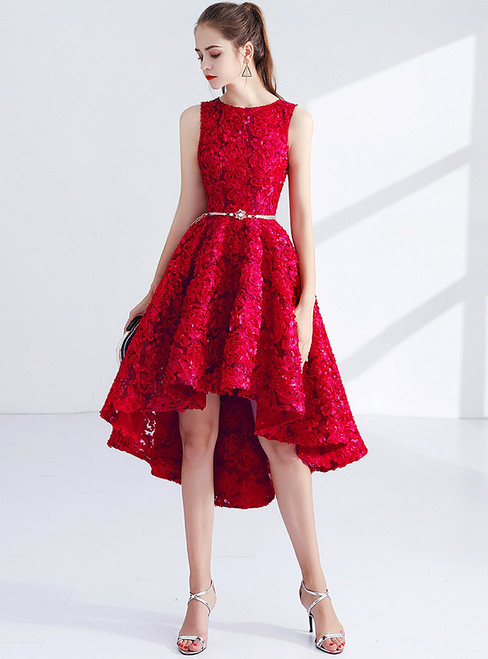 In Stock:Ship in 48 hours Red Hi Lo Lace Homecoming Dress