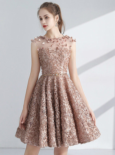 In Stock:Ship in 48 hours Champagne Lace Homecoming Dress With Sash