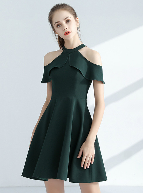 In Stock:Ship in 48 hours Green Halter Satin Homecoming Dress