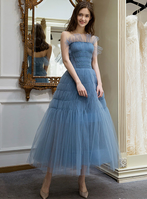 In Stock:Ship in 48 hours Blue Strapless Tulle Homecoming Dress