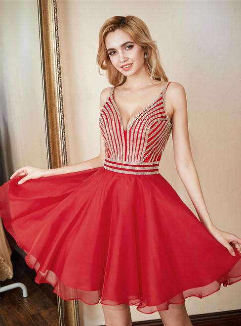 Red Chiffon Spaghetti Straps Homecoming Dress