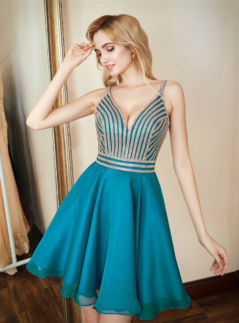 In Stock:Ship in 48 hours Blue Chiffon Spaghetti Straps Homecoming Dress