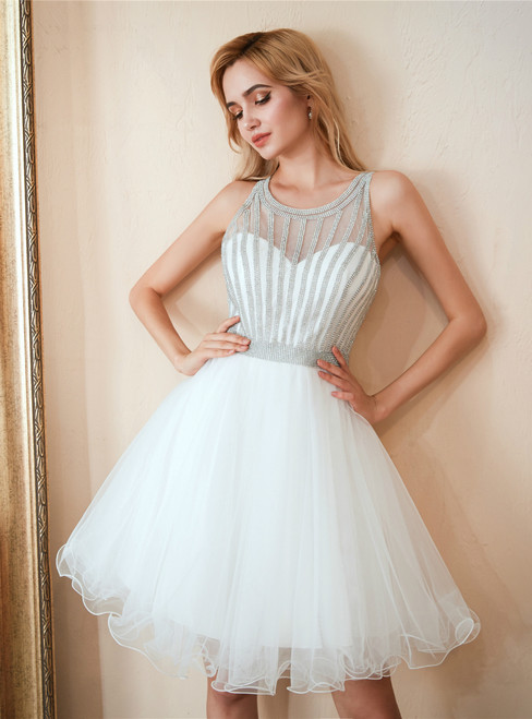 In Stock:Ship in 48 hours White Tulle Homecoming Dress With Beading