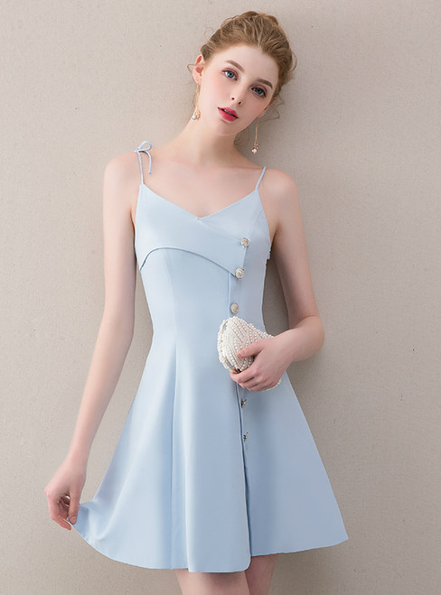 In Stock:Ship in 48 hours Blue Satin Spaghetti Straps Homecoming Dress
