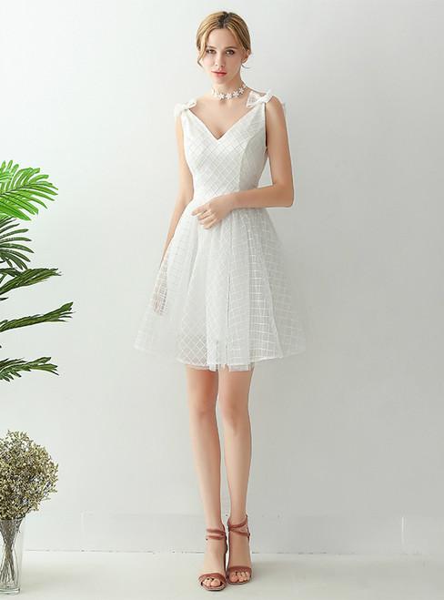 In Stock:Ship in 48 hours White V-neck Backless Wedding Dress