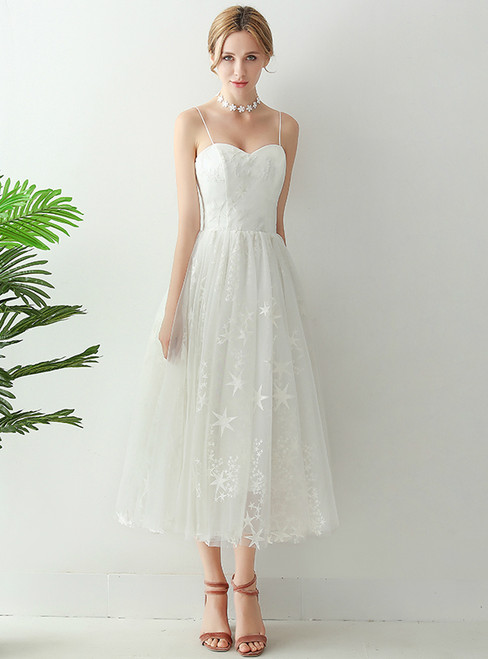 In Stock:Ship in 48 hours Spaghetti Straps Tulle Tea Length Wedding Dress