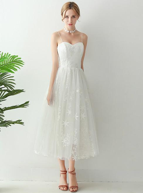 In Stock:Ship in 48 hours Spaghetti Straps Tulle Tea Length Wedding Dress