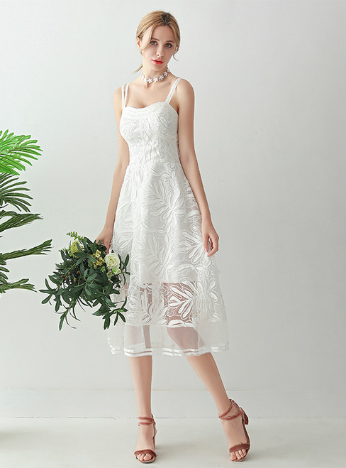 In Stock:Ship in 48 hours White Tulle Tea Length Wedding Dress