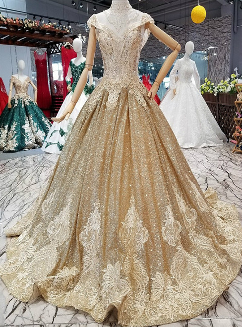Gold Ball Gown Off The Shoulder Sequins Backless Wedding Dress