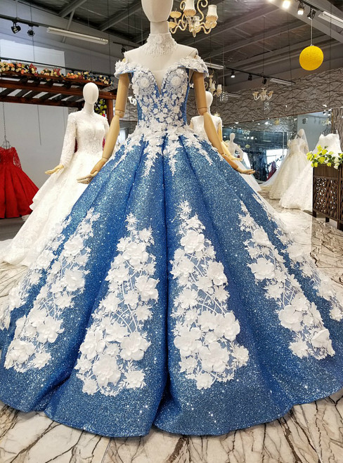Blue Ball Gown Off The Shoulder Sequins Appliques Wedding Dress