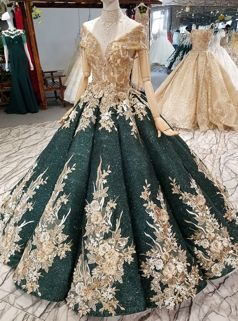 Green Ball Gown Sequins Off The Shoulder Appliques Wedding Dress