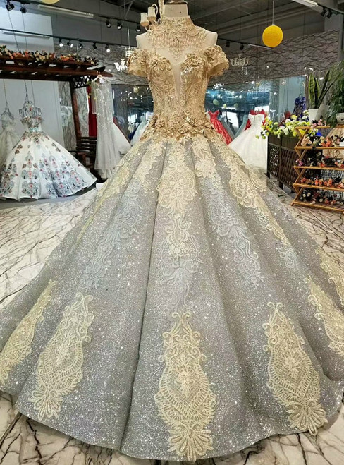 Ball Gown Gray Sequins Appliques Off The Shoulder Wedding Dress