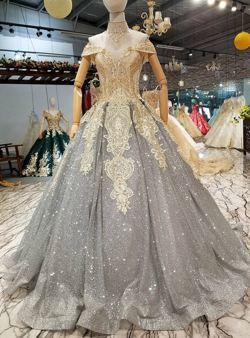 Gray Ball Gown Off The Shoulder Sequins Appliques Wedding Dress