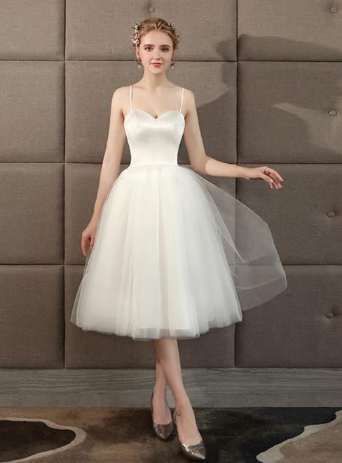 In Stock:Ship in 48 hours White Spaghetti Straps Tea length Wedding Dress