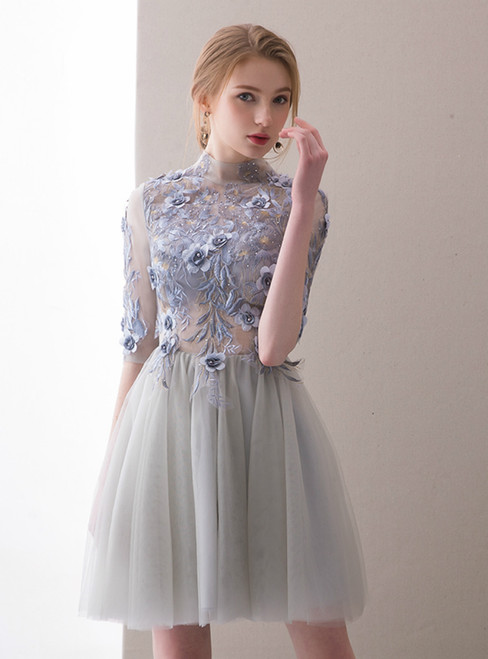In Stock:Ship in 48 hours Gray High Neck Short Sleeve Homecoming Dress