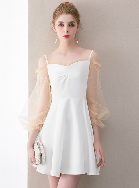 In Stock:Ship in 48 hours White Long Sleeve Homecoming Dress