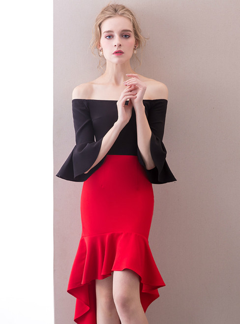 In Stock:Ship in 48 hours Mermaid Off The Shoulder Homecoming Dress