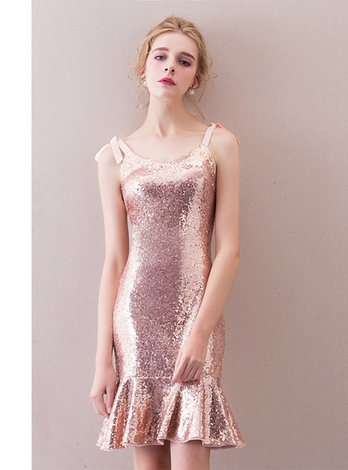 In Stock:Ship in 48 hours Mermaid Pink Sequins Homecoming Dress