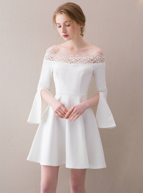 In Stock:Ship in 48 hours White Off The Shoulder Satin Homecoming Dress