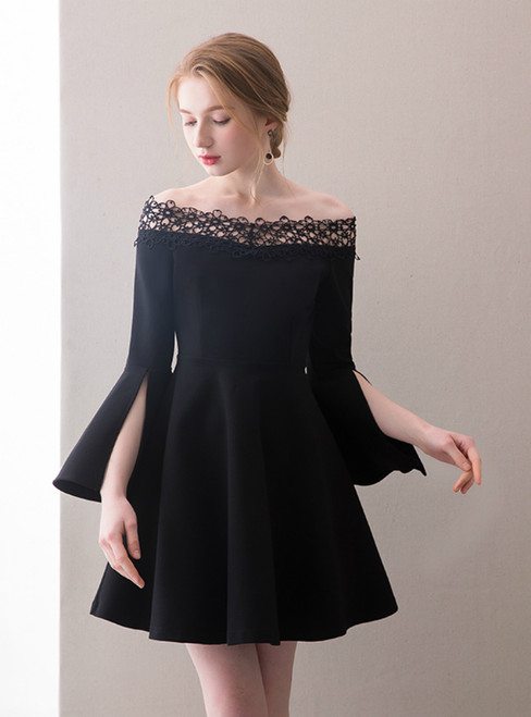 In Stock:Ship in 48 hours Black Off The Shoulder Satin Homecoming Dress