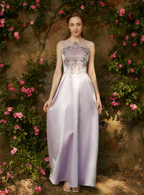 In Stock:Ship in 48 hours Purple Satin Embroidery Long Dress