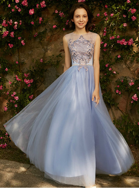 In Stock:Ship in 48 hours Blue Tulle Embroidery Long Bridesmaid Dress