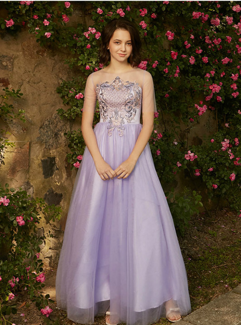 In Stock:Ship in 48 hours Purple Tulle Embroidery Long Bridesmaid Dress