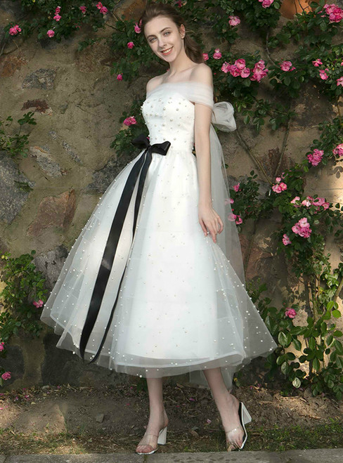 In Stock:Ship in 48 hours White Off The Shoulder Tea Length Bridesmaid Dress