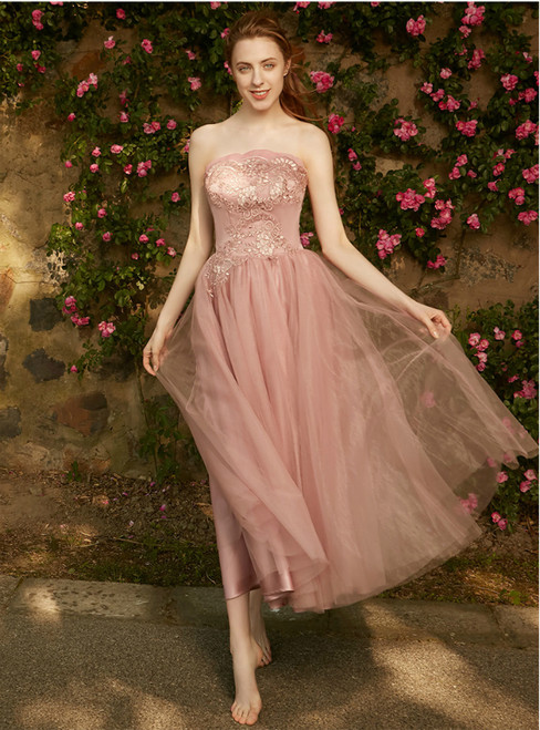 In Stock:Ship in 48 hour Pink Strapless Tulle Tea Length Bridesmaid Dress