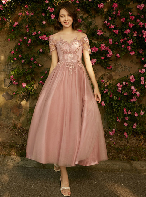 In Stock:Ship in 48 hours Pink Cap Sleeve Tea Length Bridesmaid Dress