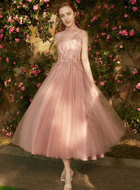 In Stock:Ship in 48 hours High Neck Tulle Tea Length Bridesmaid Dress
