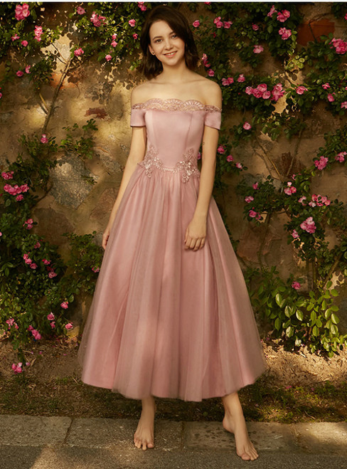 In Stock:Ship in 48 hours Off The Shoulder Tulle Appliques Bridesmaid Dress