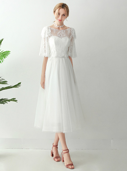 In Stock:Ship in 48 hours White Lace Two Piece Wedding Dress