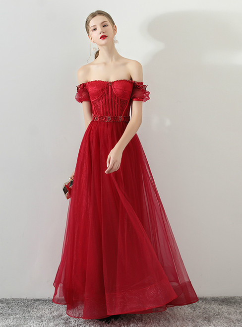 In Stock:Ship in 48 hours Burgundy Off The Shoulder Prom Dress