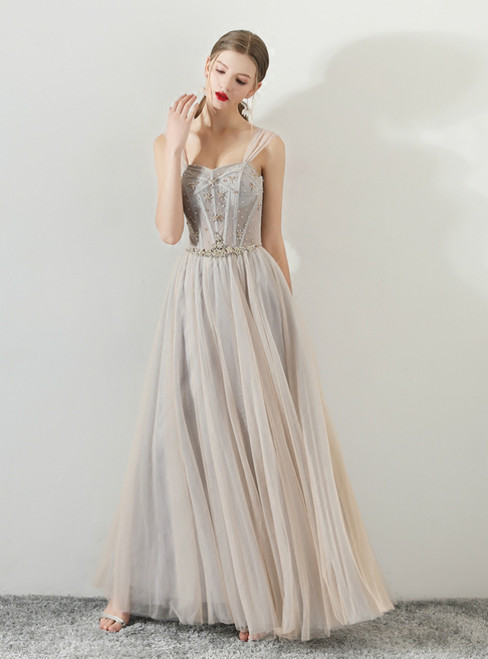 In Stock:Ship in 48 hours Gray Spaghetti Straps Tulle Prom Dress