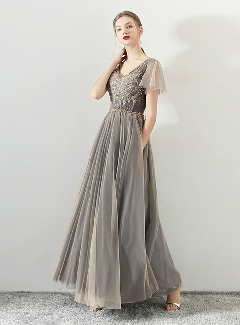 In Stock:Ship in 48 hours Gray V-neck Tulle With Beading Prom Dress