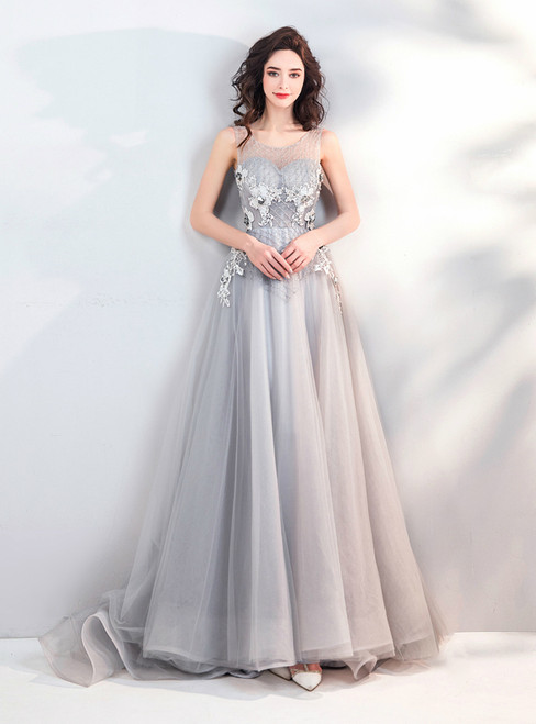 In Stock:Ship in 48 hours Gray Tulle Backless Appliques Prom Dress