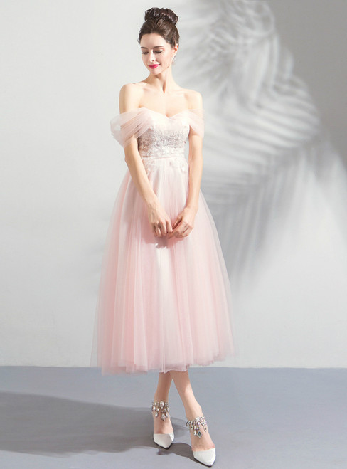 In Stock:Ship in 48 hours Pink Off The Shoulder Tea Length Prom Dress